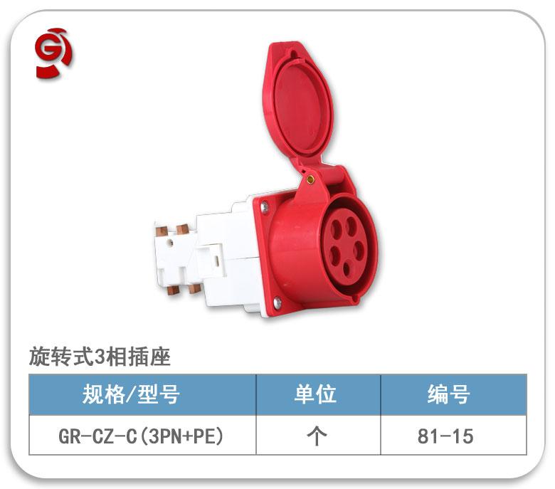旋轉式工業五孔插座